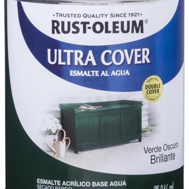 Pintura Multiusos Rust-Oleum Ultra Cover Esmalte Al Agua Verde Oscuro Brillante