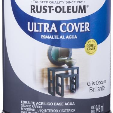 Pintura Multiusos Rust-Oleum Ultra Cover Esmalte Al Agua Gris Oscuro Brillante Brillante