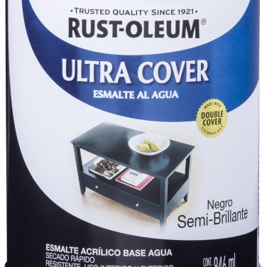 Pintura Multiusos Rust-Oleum Ultra Cover Esmalte Al Agua Negro Semi Brillante