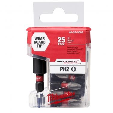 Puntas Phillips PH2 + Adaptador Magnetico Milwaukee 48-32-5009 25,4 mm