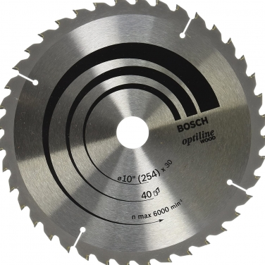 Disco de Sierra Circular para Madera Optiline Bosch 2608640907 10 Pulgadas