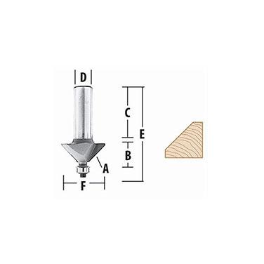 FRESA P/BISELAR  45° - 1.1/4 X 1/2  c/rodamiento EJE 1/4 - Makita 45° - 1.1/4 X 1/2  c/rodamiento EJE 1/4