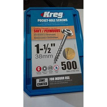 Tornillos de zinc para orificios ocultos  de hilo grueso (1 1/2) Kreg  500 UN.
