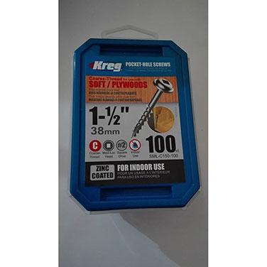 Tornillos de zinc para orificios ocultos Kreg® de hilo grueso (1 1/2)-100 unidades