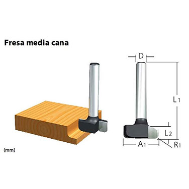 FRESA MEDIA CAÑA  2 FILOS - R1/8 - 1/4 X 1/4 EJE 1/4 - Makita 5/8 EJE 1/2