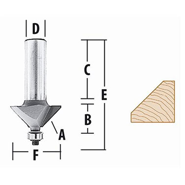 FRESA P/BISELAR  45° - 1.1/4 X 1/2  c/rodamiento EJE 1/4 - Makita 22.1/2° X 1.1/4 TOMA 1/2 C/RODAM.