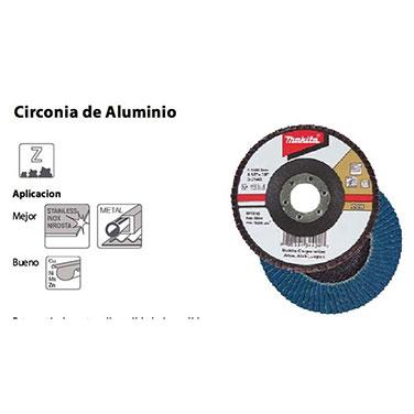 DISCO TRASLAPADO 115 X 22 GRANO 36 - ZIRCON - METAL Y ACERO INOXIDABLE - Makita 115 X 22 GRANO 80 - ZIRCON - METAL Y ACERO INOXI