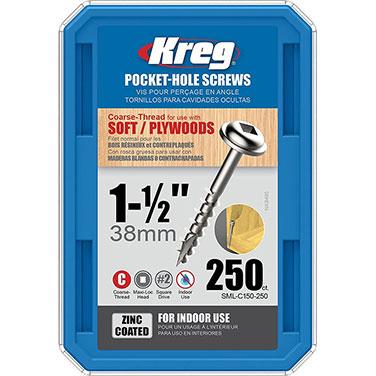 Tornillos de zinc para orificios ocultos Kreg® de hilo grueso (1 1/2)-250 unidades