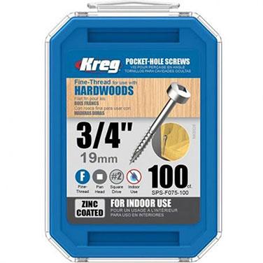 Tornillos de zinc para orificios ocultos Kreg® de hilo fino (3/4)-100 unidades