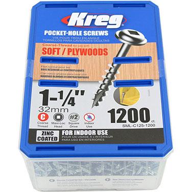 Tornillos de zinc para orificios ocultos Kreg® de hilo grueso (1 1/4)-1200 unidades
