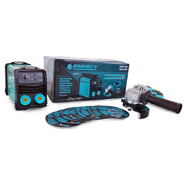 Kit Soldadora Inverter + Esmeril + 10 Discos ENERGY IA 140/2/220 PLUS 140Amp