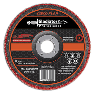 Disco flap Acero y Madera 4 1/2 Gladiator DFA 8115120 Gr 120